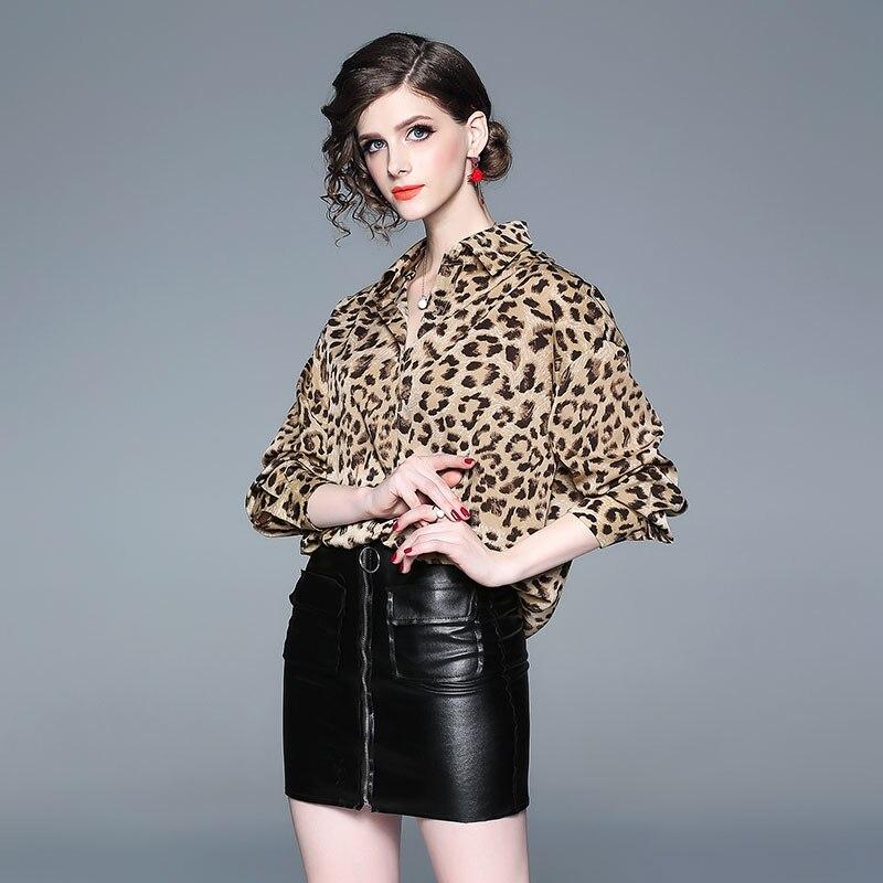 Manga Hipster Moda Color Camiseta Suelto Otoño Mujeres Completa Imprimir Leopardo 2018 Diseñador Photo Bllocue Nueva Pista nSvZ7x4