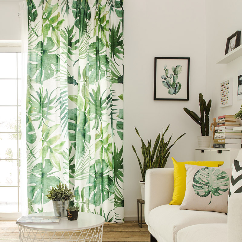 RZCortinas Curtains for Living Room Green Leaf Printed Window Curtain Customized Cotton Linen Cortinas Sheer Tulle for Bedroom(China)