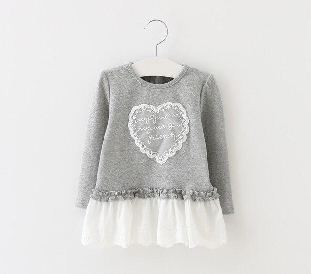 4315a9a05 New Baby Kids Cute Lace Love Pattern Blouse Dress