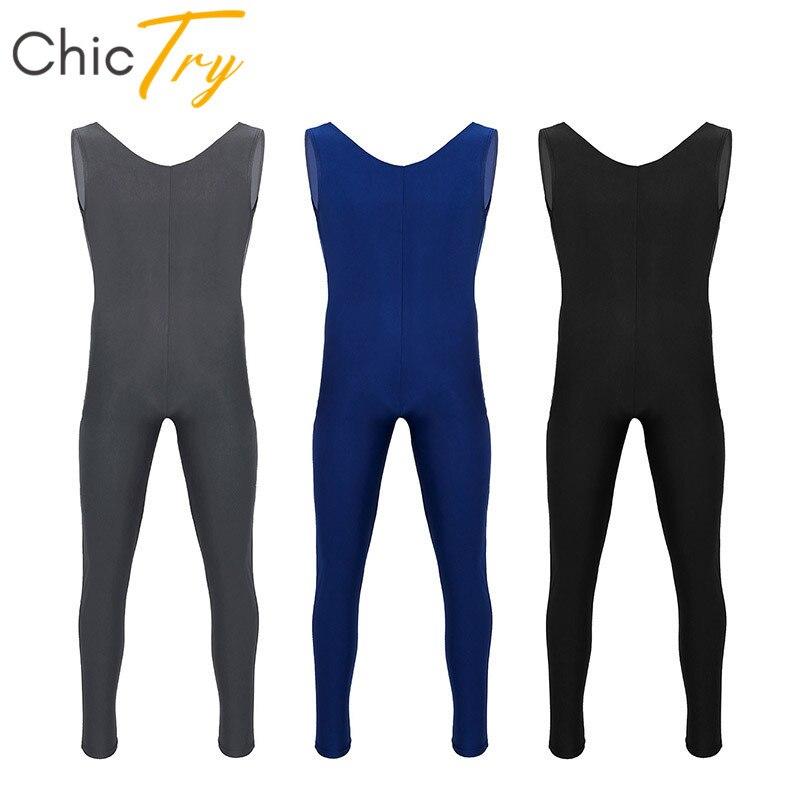 ChicTry Adult Scoop Neck Sleeveless Skin-Tight Solid Color Men Ballet Leotard Gymnastics Unitards Fitness Bodysuit Dance Costume
