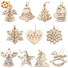 10PCS Lovely Vintage Christmas Wooden Pendant Ornaments DIY Wood Crafts Kids Gift Xmas Tree Ornament Christmas Party Decorations