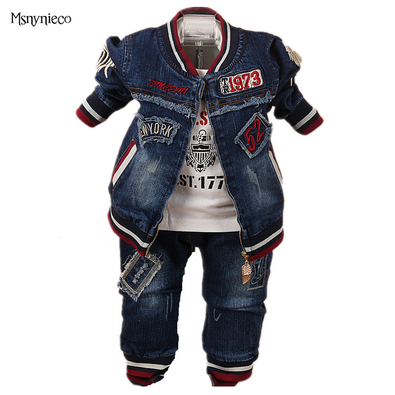 Baby Boys Clothing Sets T Shirt+ Demin Jacket +pants 3pcs/set Infants Casual Sports Clothes Suit 2017 Spring Casual Baby Clothes