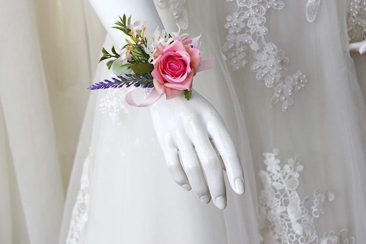 pink wrist corsage boutonniere wedding  (19)