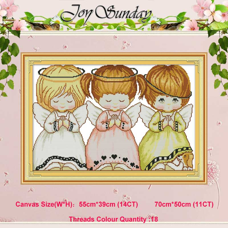 Three Little Angels Counted 11CT 14CT Cross Stitch Set DIY DMC Chinese Cross-stitch Kit Embroidery Needlework Home Decor