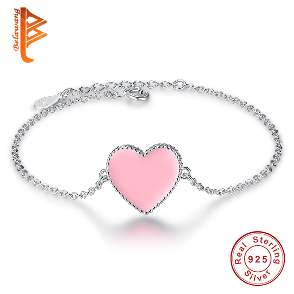 claire bracelet pink heart stretch cracked charm bead s with