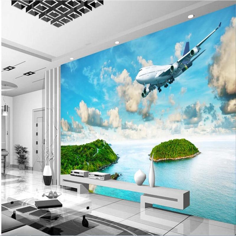 beibehang Large custom frescoes seaside island tropical rainforest plane living room bedroom TV wall photo wallpaper