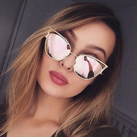 Brand Designer Cat Eye Sunglasses Women Vintage Mirror Sunglasses Eyewear Female Accessories Oculos De Sol Feminino