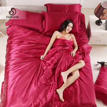 Parkshin Wine Red Silk Satin Luxury Bedding Set Soft Duvet Cover Queen King Size Adult bed Linen Pillowcase Sheet Home Textiles