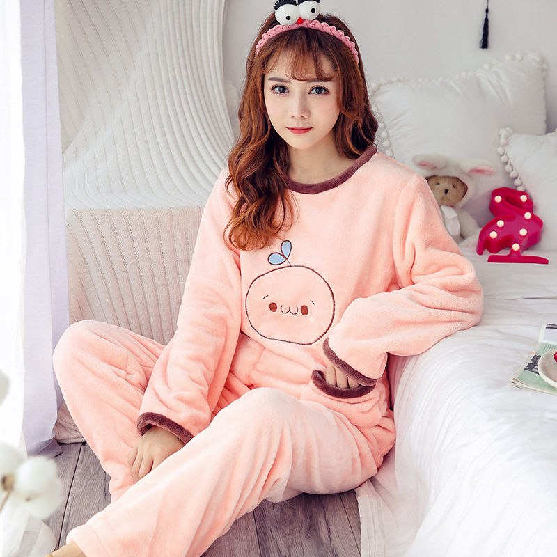 High Quality Women Pajama Sets Winter Soft Thicken Cute Cartoon Flannel Sleepwear 2 pcs/Set Tops + Warm Pants Home Clothes Mujer 92