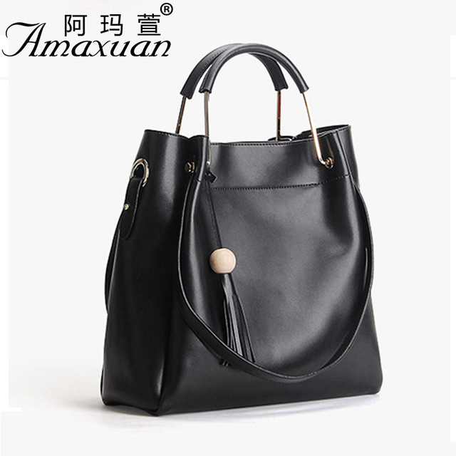 2017 Women Genuine leather handbag fashion women bag tote solid color Women casual messenger shoulder bag for ladies BBH1386