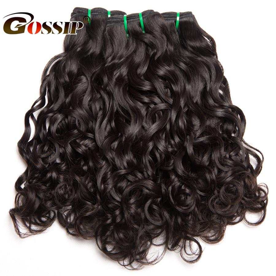 "Gossip Brazilian Hair Weave Bundles 1 Piece Water Wave Human Hair Bundles 10-28""Double Weft Hair Extension Non Remy Hair Weaving"