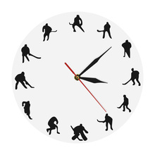 Sport Theme Hockey Decorative Wall Clock Field Hockey Icon Clocks Watch