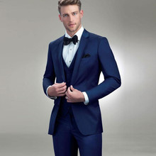 Mens Suits Royal Blue Groomsmen Wedding Tuxedos Notched Lapel Groom Suit Custom Made Formal Blazer (Jacket Pants Vest )terno