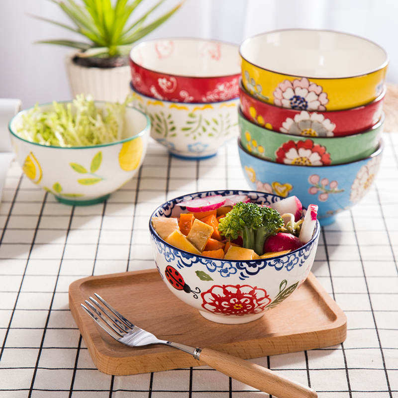 4 Pieces 4 5 inch Rice Bowl Hand painted Ceramic Western Creative Home Breakfast Bowl Salad