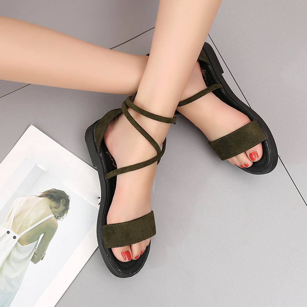 Shoes Woman Brand Flock Gladiator Sandals Women Summer Lace Up Sandals Thick Heels Fringe Summer Beach Women Sandals 35-40 2018 fringe detail beach sandals