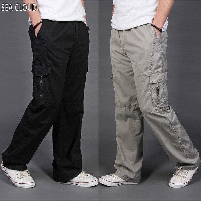 82 Trasporto libero di Estate sottili allentati pantaloni casual maschile  plus size pantaloni lunghi 100% cotone dritto pantaloni tuta L-6XL 00aba326754