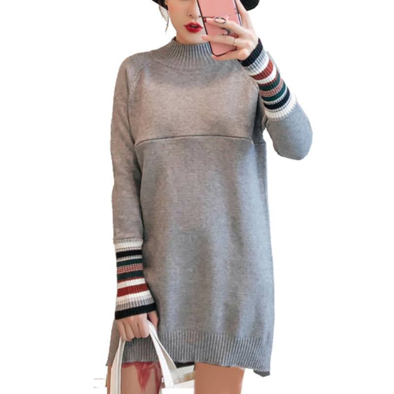 Maternity Nursing Sweater Dress Breastfeeding Long Knitted Pullover Dresses for Pregnant Women Pregnancy Casual Elegant Clothes shining beauty top quality women sexy long sleeve beading black bandage dress 2017 knitted elegant designer dress