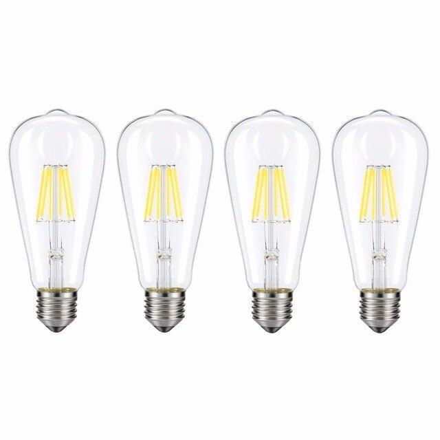 Kohree 4 Packs E26 Edison Led Bulb Light 6w 110v 4000k Dimmable Filament Daylight Bulbs For Living Room Vintage Decor White