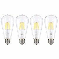 Kohree 4 Packs E26 Edison LED Bulb light, 6W 110V 4000K Dimmable Filament Daylight Bulbs for Living Room Vintage Decor, White