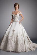 Off the Shoulder Sweetheart Glamorous Appliqued Flower Beaded Puffy Wedding Dresses 2016 casamento vestidos de novia