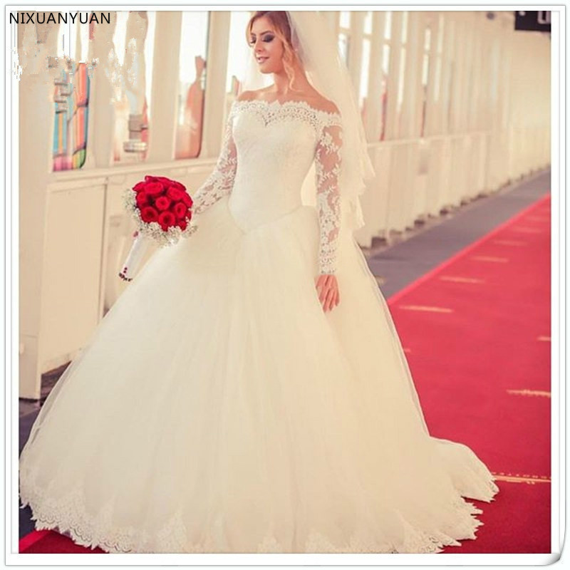 Robes De Mariage 2020 Princess Long Sleeve Wedding Dress Lace Appliques White Tulle Ball Gowns Vintage Wedding Dress