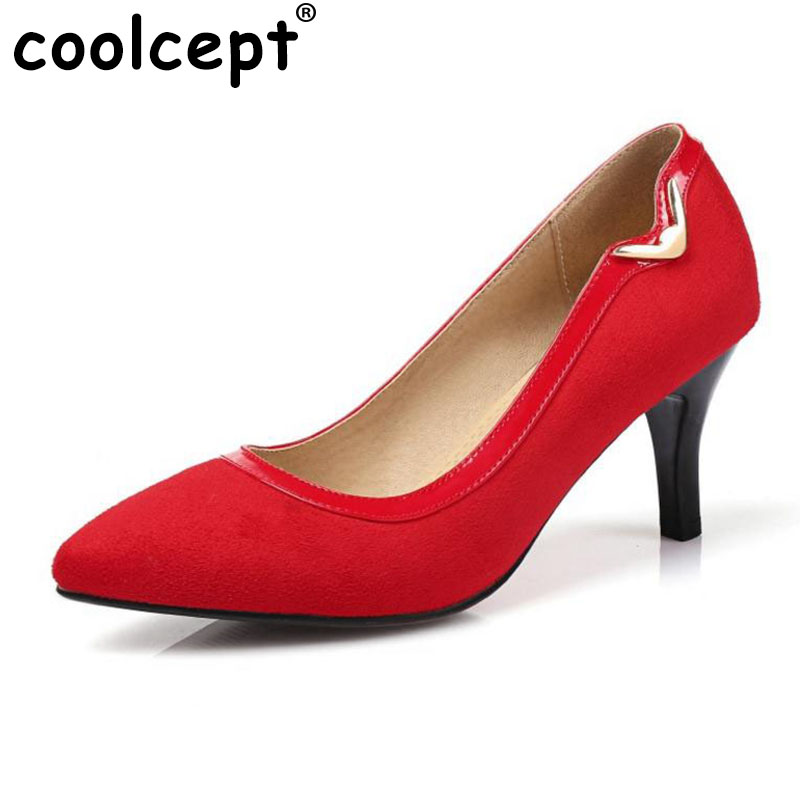 Coolcept  Women High Heels Pumps Thin Heel Pointed Wedding Party Flock Metal Decoration Slip On Fashion Women'S Shoes Size 30-43 cicime women s heels thin heel spikes heels solid slip on wedding fashion leisure casual party dressing high heel platform pumps