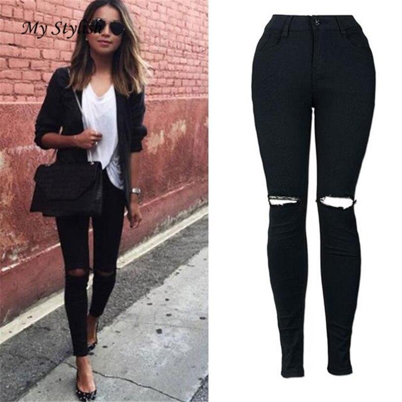 Pas cher Femmes Jeans 2017 Nouvelles Femmes De Mode Mince Crayon Pantalon  Cool déchiré Genou Cut Skinny Jeans Longs Pantalons Haute Qualité Décembre  14 de