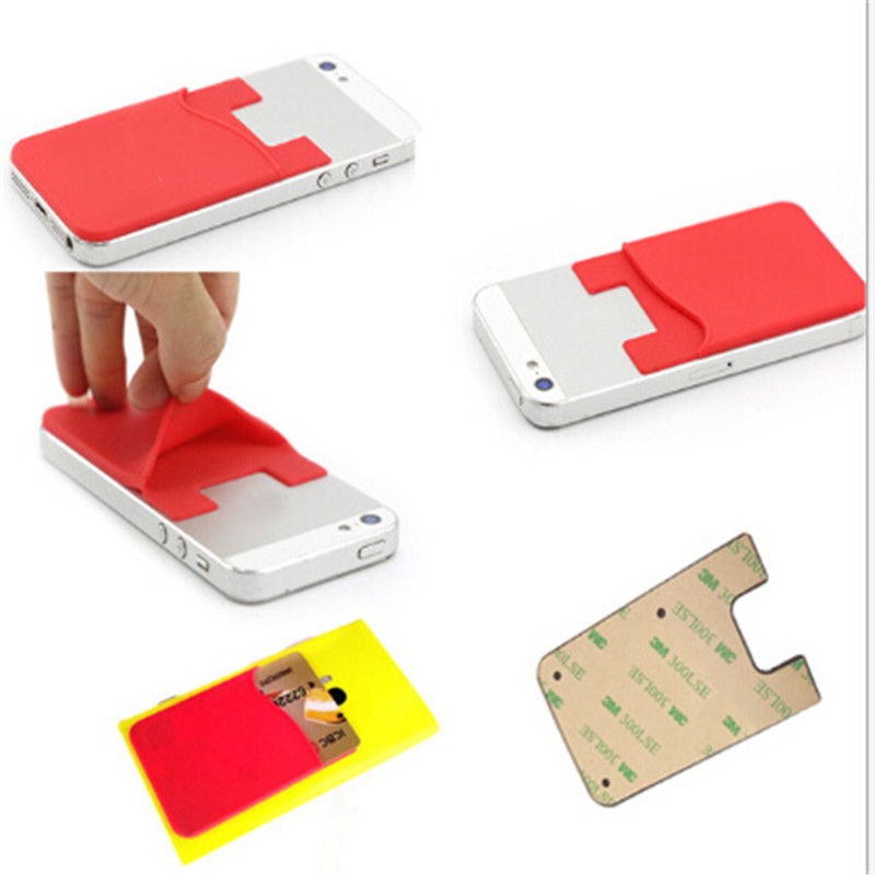 1PC Fashion Adhesive Sticker Back Cover Card Holder Silicone Small Bus Card Case Pouch For Phone Credit Card Cash Pouch image