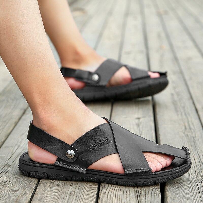DJSUNNYMIX Summer Men Beach Sandals Handmade Genuine Leather Sandals Shoes for Men Leisure Durable Non-slip Shoes