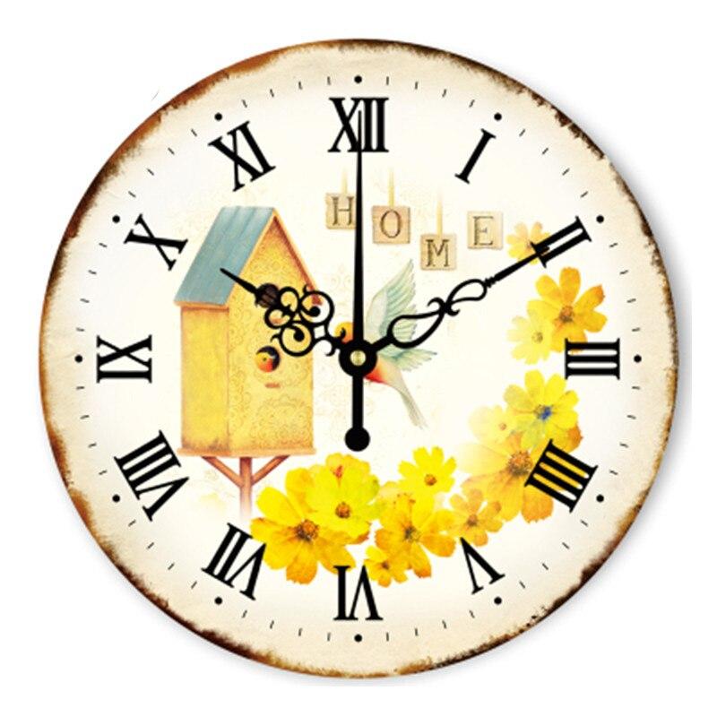 US $21.4 10% OFF Vintage Digitale Große Dekorative Wanduhr Modernes Design  Gelbe Kleine Kamille Blume Wohnkultur Uhr Wanduhr Küche-in Wanduhren aus ...