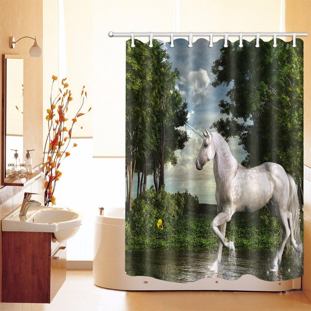 Tropical Forest Dream Fairy Unicorn Bathroom Shower Curtain ...