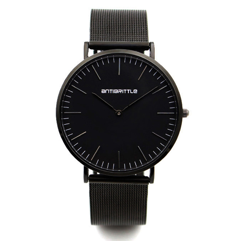 Ultra Super Thin Men Black Watch Stainless Steel Quartz 30m Waterproof Women Luxury Wristwatch 6mm Thick Sport relogio masculino ultra black