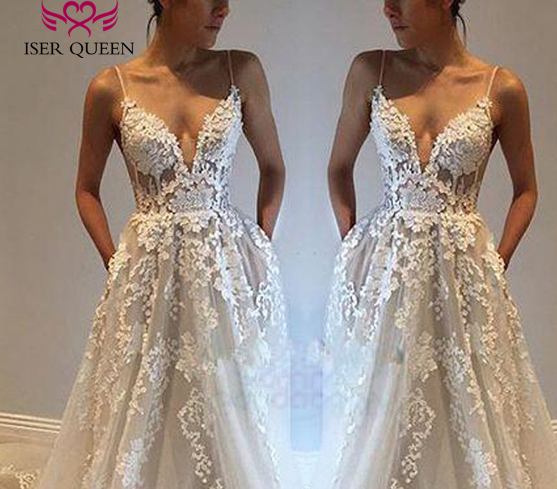 Sexy Backless Spaghetti Straps Europe Wedding Dress 2019 A Line Appliques Embroidery Long Train Bridal Dress Wedding Gown W0246