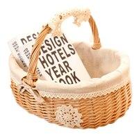 HIPSTEEN Creative Wickerwork Storage Basket Fresh Style Sundries Storage Case with Linen