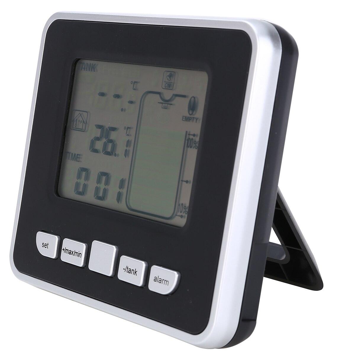 Ultrasonic Water Tank Level Meter Temperature Sensor Low battery Liquid Depth Indicator Time Alarm Transmitter Measuring Tools