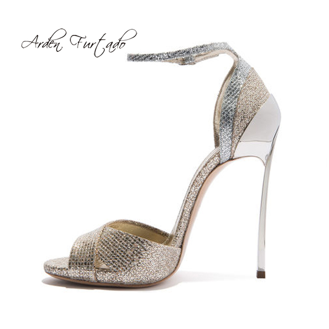 31ceefcf4106 Arden Furtado 2018 summer high metal heels 12cm bling bling buckle strap  fashion peep toe gold party shoes ladies sandals woman