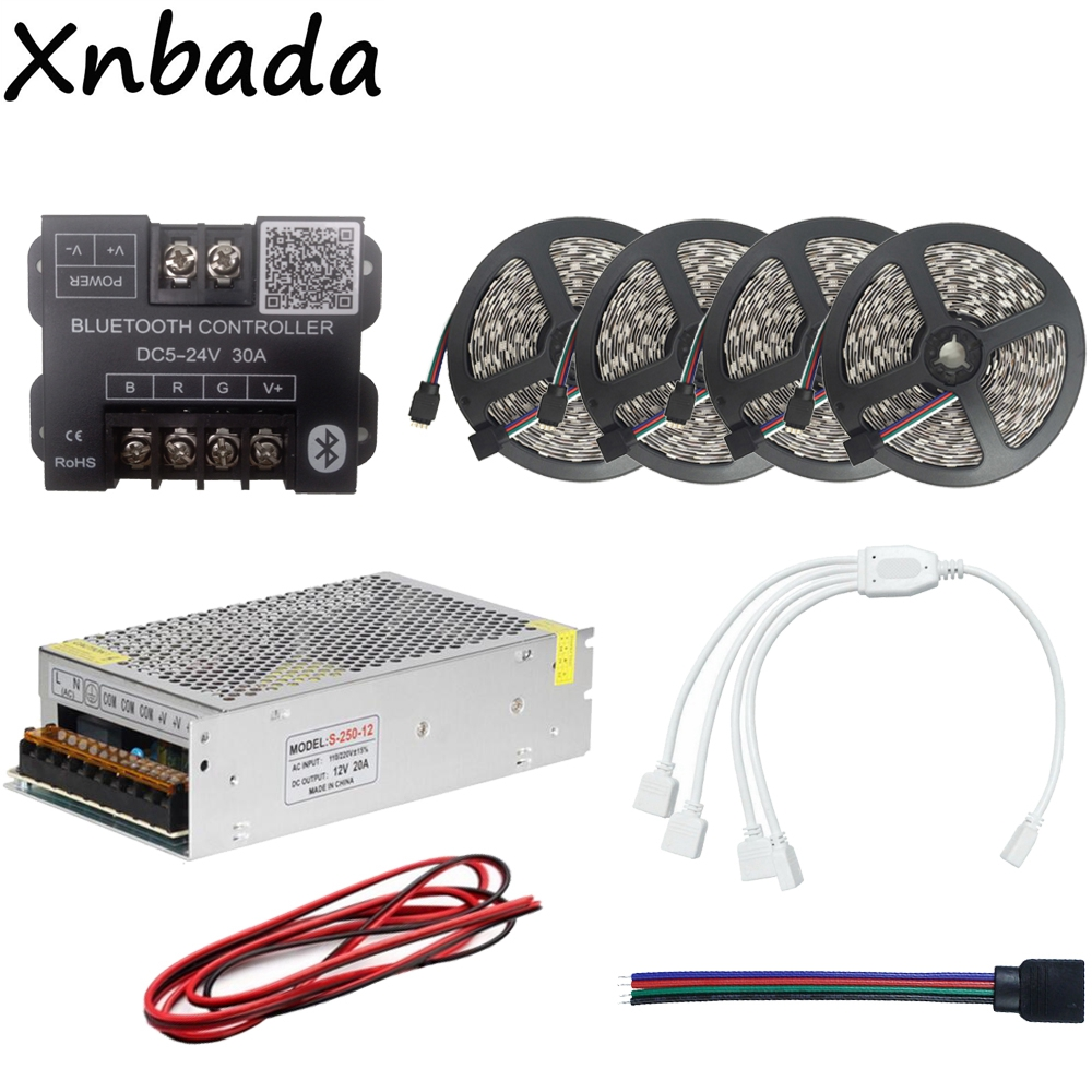 5050 60Led/m RGB Led Strip Led Flexible Light Tape 20M+Bluetooth Led Controller+12V 20A Led Power Supply Adapter Kit led strip light 5050 rgb waterproof 30led m diode flexible tape 4m 8m 12m 16m smart wifi led controller power supply