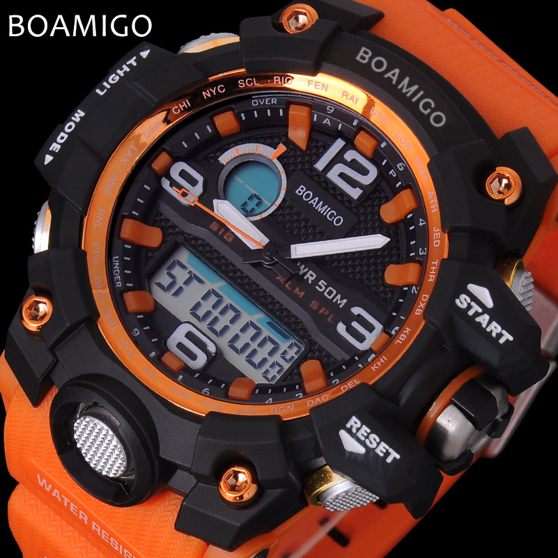 men sport watches BOAMIGO brand LED digital watches analog quartz watch rubber strap 50M waterproof swimming