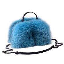 Новая женская сумка из натурального Лисьего меха, зимняя теплая Женская модная сумка на плечо, банкетная сумка из натуральной кожи, разноцветные меховые сумки с лисой