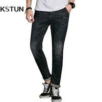 KSTUN Famous Brand Mens Jeans Denim Black Drawstring Slim Fit Tapered High Waist Classic Students Casual