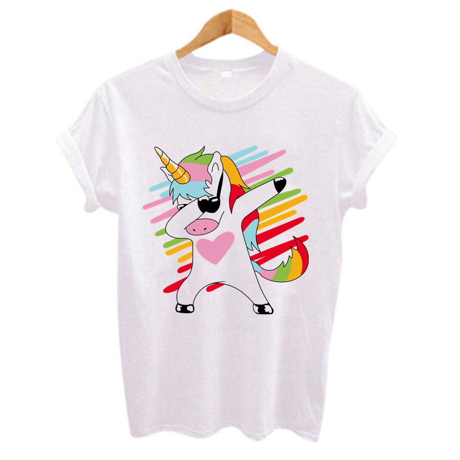 2019 Funny Unicorn Print Women T Shirt Short Sleeve T-shirts O-Neck Tops Plus Size White Casual Hip Hop Tshirts