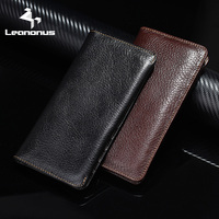 Leanonus 100 Genuine Leather Wallet Pouch For Samsung Galaxy Note8 S8 Plus S7 Cover For IPhoneX