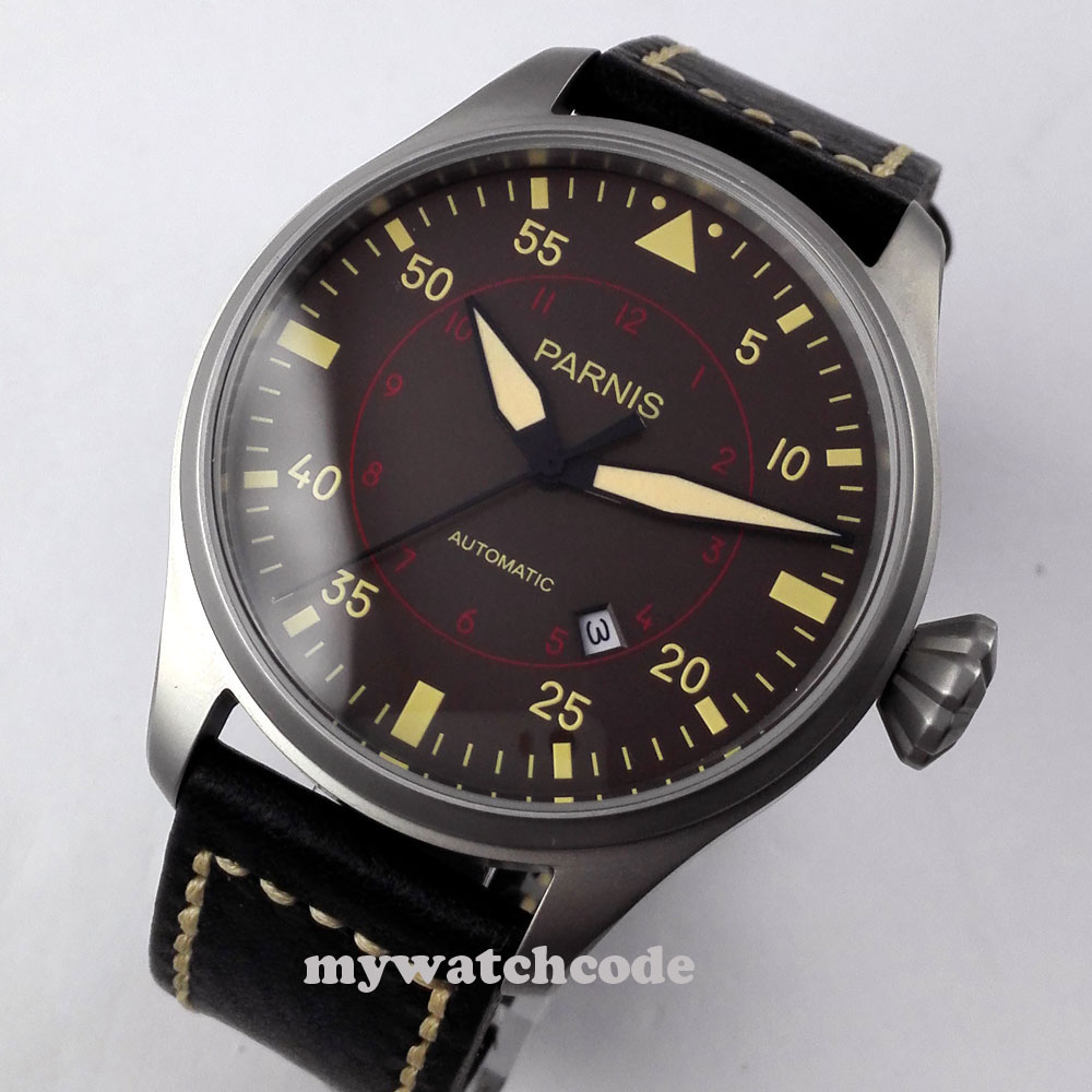 47mm parnis coffee dial date gray case miyota automatic movement mens watch P346 luxurious 47mm parnis coffee dial date seagull automatic movement mens watch page 6