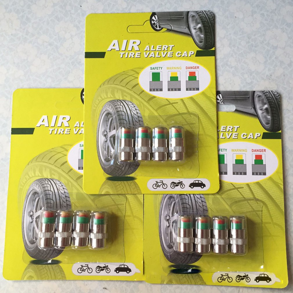 4 adet/takım vana kök kapaklar araba/anti-hırsızlık lastik basıncı monitörü sensörü göstergesi katı pirinç donanım 3 renk göz uyarısı