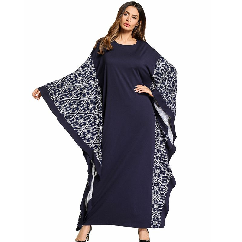 H&D 2018 south african bat sleeves loose maxi dress navy blue plus size 2xl 3xl africa lady clothing robe africaine femme