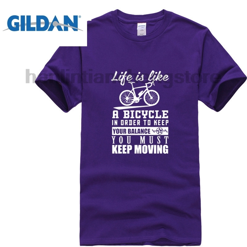 GILDAN Bicycle To Keep Your Balance You Must Moving Black T Shirt Mens 2018 Male T Shirts Online Shop Soft Mens Green T Shirt