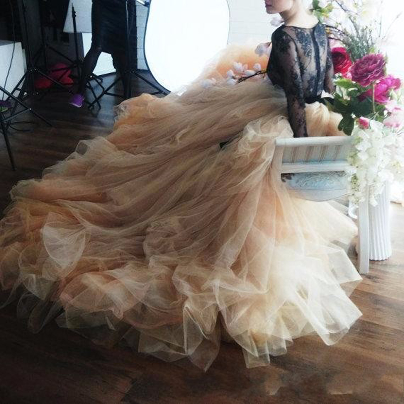 "Promote""Ball-Gowns Skirt Maxi Rustic Wedding Bridal Long Romantic for Tulle Court-Train High-Endè"
