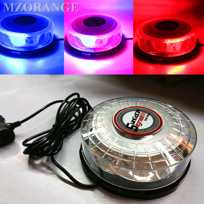 Car Ceiling Light Strobe Vs7 Super Bright Roof Led Flashing Lamp Lightning Round Dome Red Blue Yellow Warning Lights 8x4 magnetic 32 led blue red flashing strobe light for roof top plug n play 5pcs