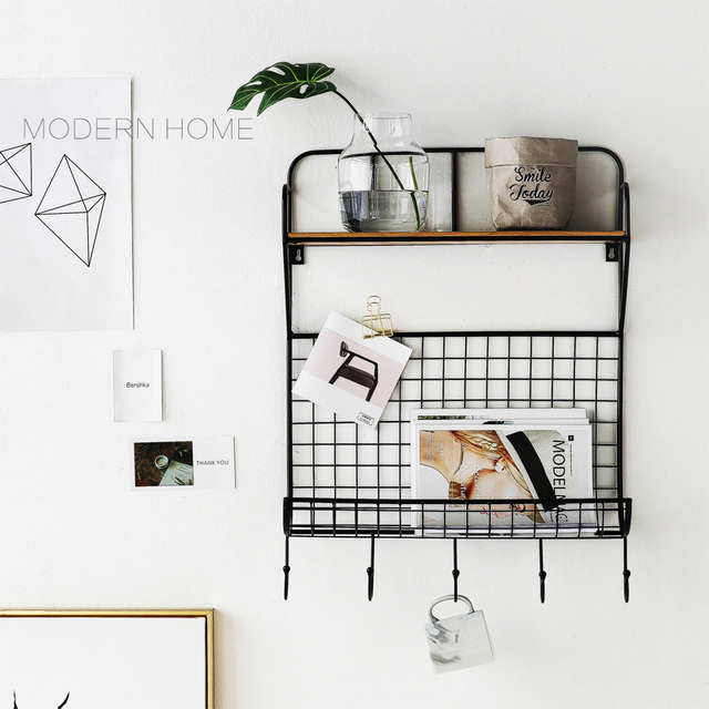 Modern Design Wall Mounted loft metal wood display show shelf shelves fashion decoration Rack Storage  sc 1 st  AliExpress.com & Modern Design Wall Mounted loft metal wood display show shelf ...
