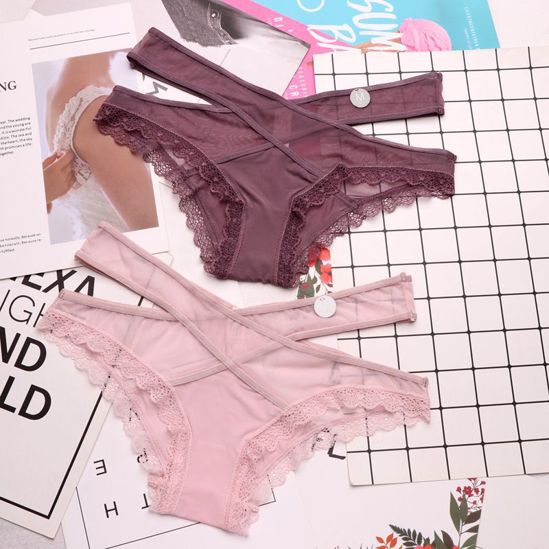 SP&CITY New Cross Lace Up Silk Lace Net Sexy Underwear Women Elegance Seamless Sex   Panties   Crotch Cotton Briefs Lingerie Tanga